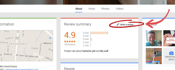 Review Ohio Home Doctor on Google.